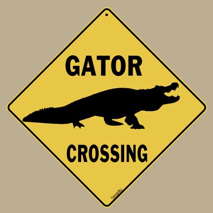 Alligator Silhouette Crossing Sign