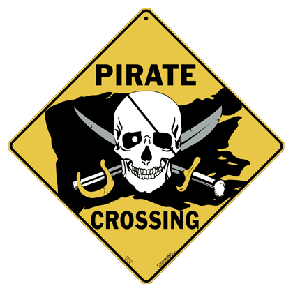 Pirate Flag Crossing Sign