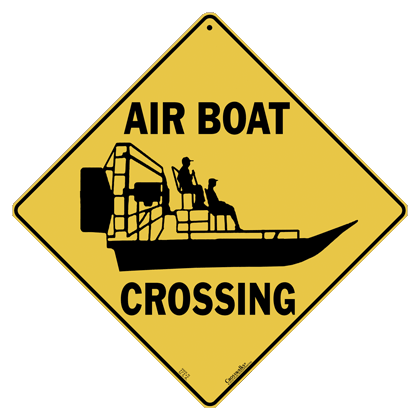 Airboat Silhouette Crossing Sign