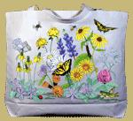 Vintage Wildflowers Canvas Tote - Back