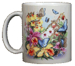 Butterfly Orchids Ceramic Mug - Front