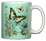 Victorian Butterflies Ceramic Mug - Back