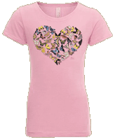 Butterfly Heart Girls T-shirt