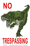 "No Trespassing T-Rex 2"" X 3"" Magnet"